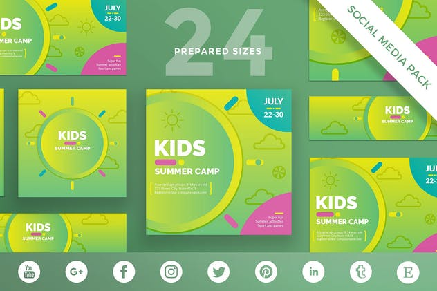 Kids Summer Camp Social Media Pack Template