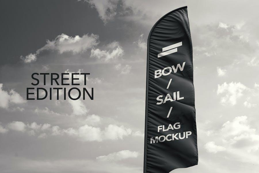 3D Flags Feather / Bow / Sail Flag Mockup