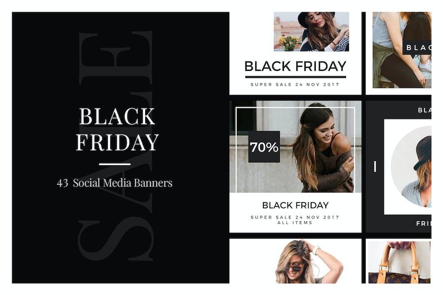 43 Баннеры в социальных сетях «Черная пятница»