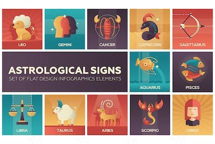 Astrological signs - flat design elements