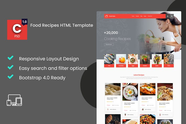 Thumbnail for Cook Note - Food Recipes HTML Template