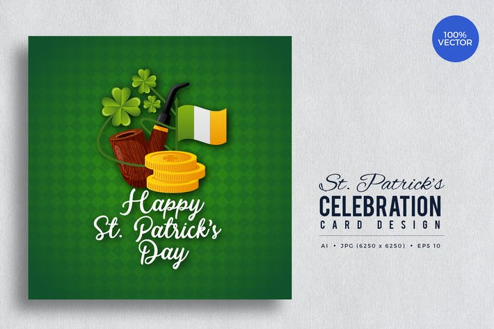 Thumbnail for St. Patrick's Day Square Vector Card Vol.3