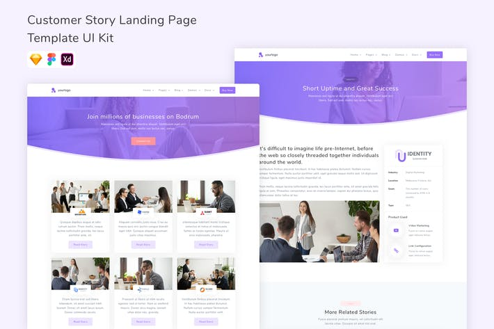 Thumbnail for Customer Story Landing Page Template UI Kit