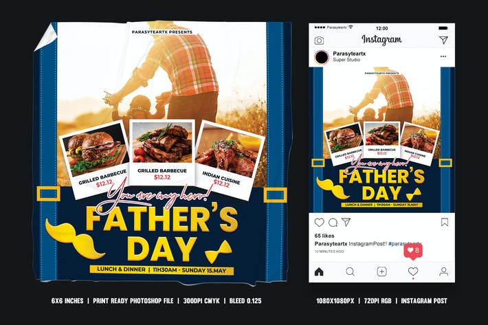 Thumbnail for Fathers Day Square Flyer & Instagram Post