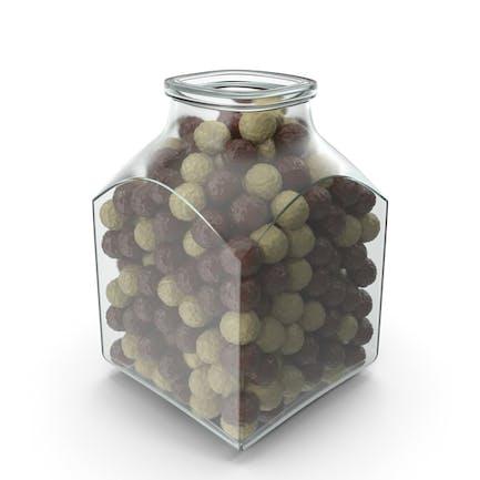 Square Jar with Chocolate Balls