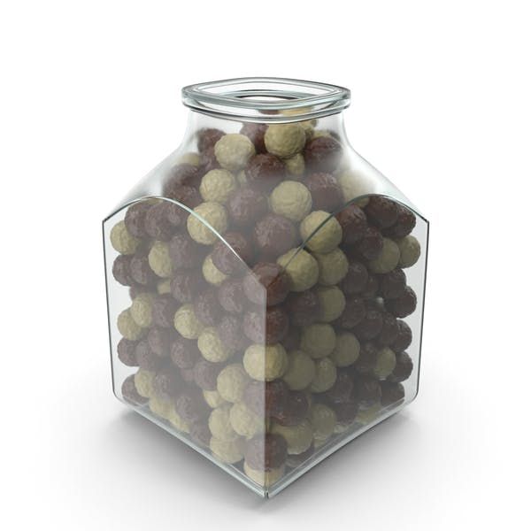 Square Jar with Chocolate Balls