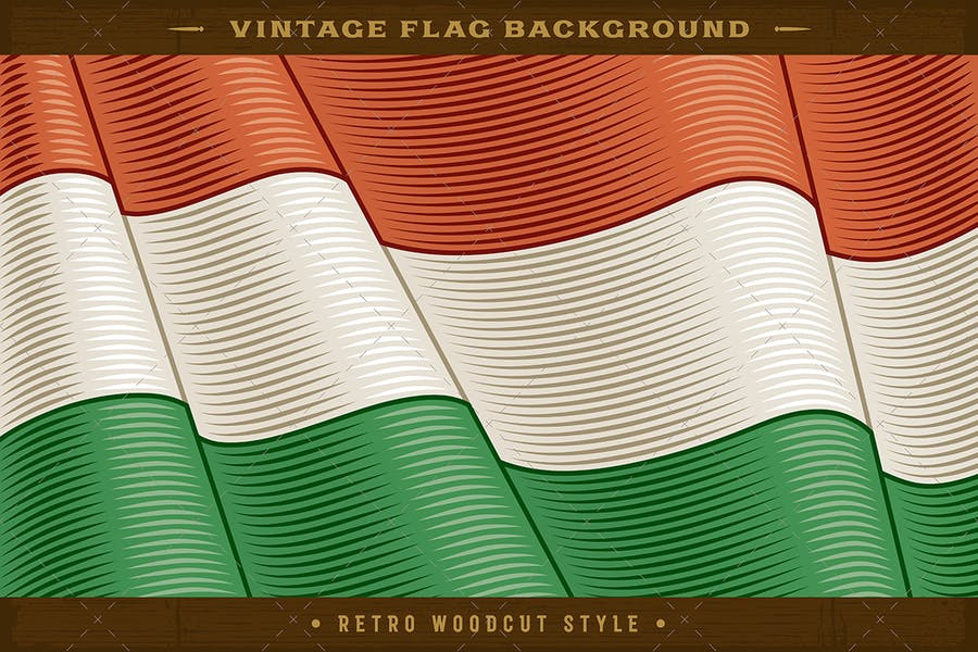 Vintage Flag Of Hungary. Close-up Background