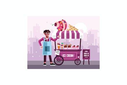 Ice Cream Street Food Cart with Seller