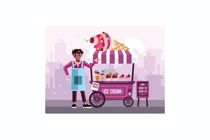 Thumbnail for Ice Cream Street Food Cart with Seller