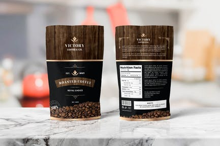 Coffee Pounch Bag Packaging Template