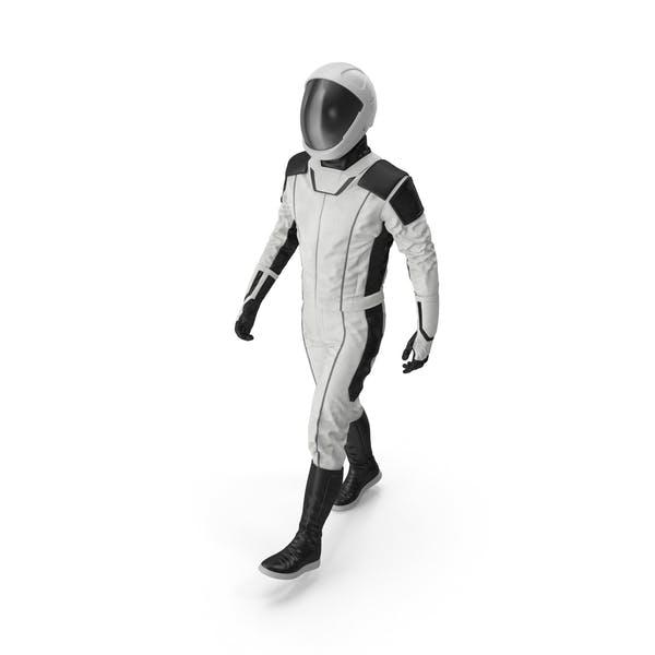 Футуристический космонавт космический костюм ходьба поза