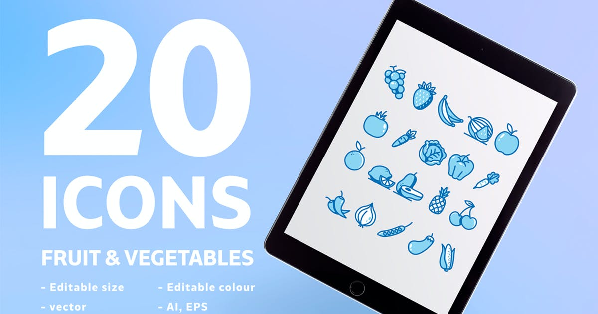 Download 20 Icons Fruit & Vegetables by maghrib