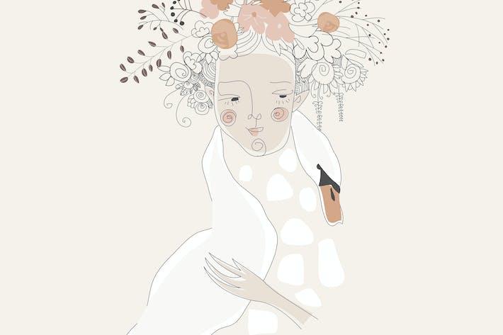 Cute girl hugging swan. Cartoon romantic illustrat