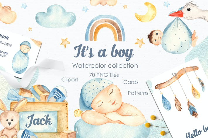 Thumbnail for It's a boy watercolor clipart, cards, patterns