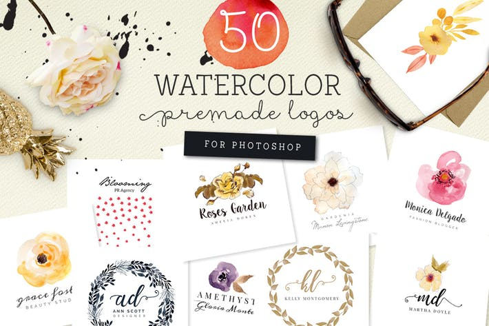 Thumbnail for 50 Premade Watercolor Logos