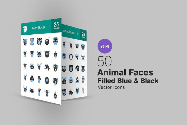 50 visages d'animaux remplis bleus et noirs Icones