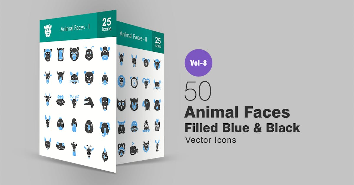 Download 50 Animal Faces Filled Blue & Black Icons by IconBunny