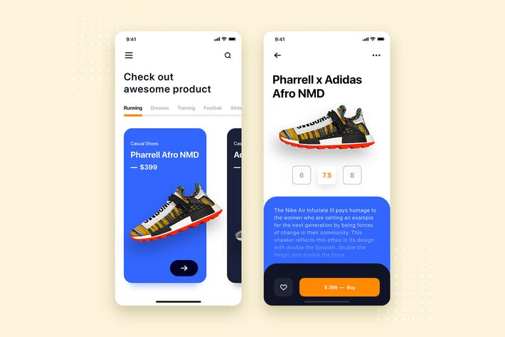 Shoes Store Mobile App UI Kit Template