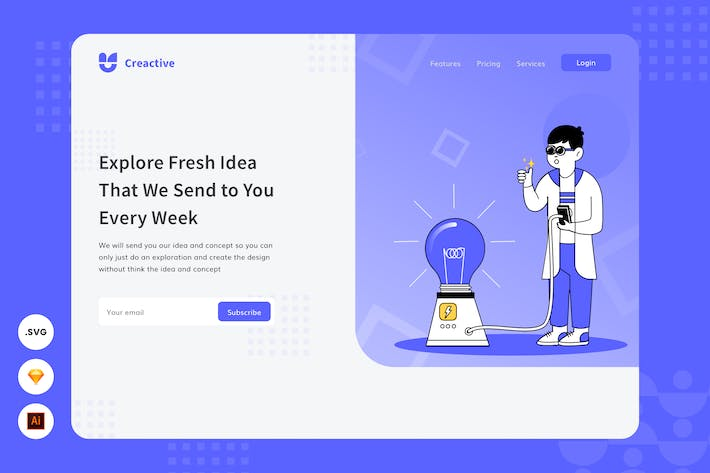 Thumbnail for Explore Fresh Idea - Website Header Illustration