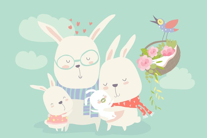 Thumbnail for illustration of happy cartoon rabbits family