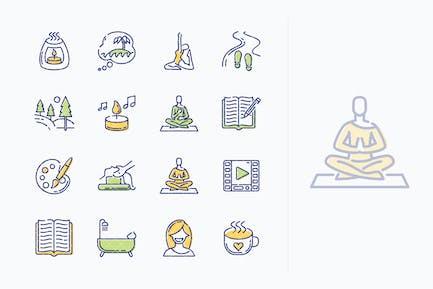 Íconos de Técnicas de Relajación - Serie Esquema