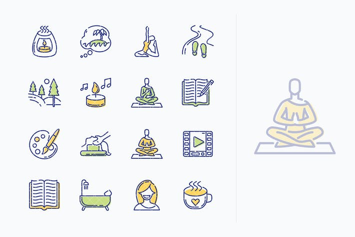 Thumbnail for Relaxation Techniques Icons - Outline Series
