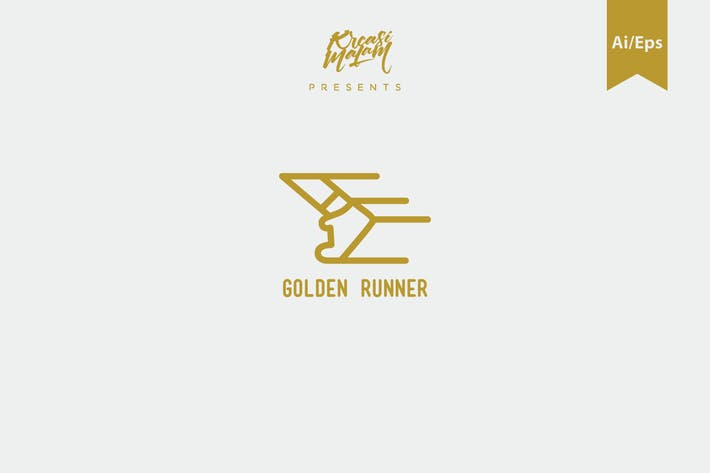 Thumbnail for Golden Runner Logo Template