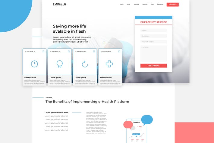Thumbnail for FORESTO - Medical Platform Website XD Template