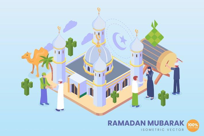 Thumbnail for Isometric Ramadan Mubarak Concept