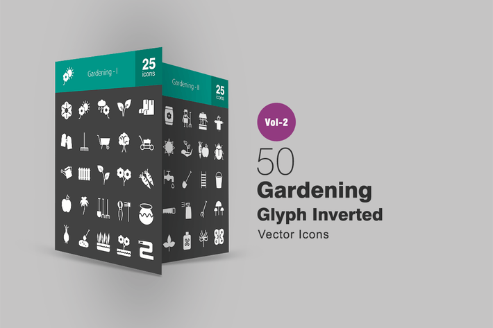 Thumbnail for 50 Gardening Glyph Inverted Icons