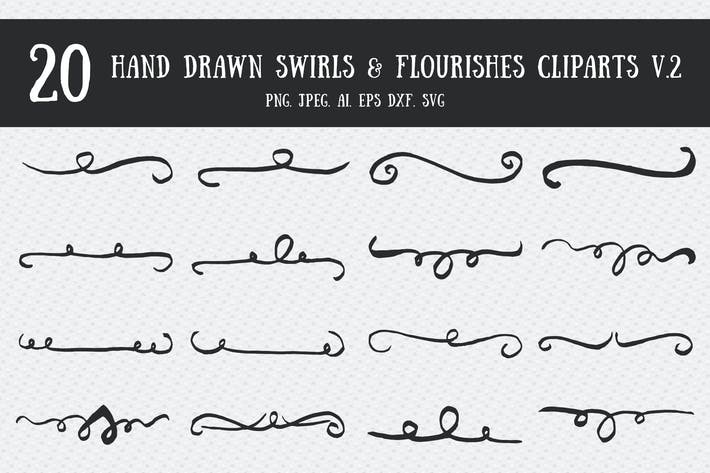 Thumbnail for Swirls & Flourishes Cliparts Ver. 2