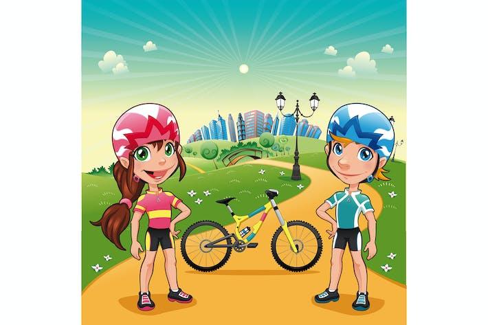 Thumbnail for Parque con jóvenes ciclistas