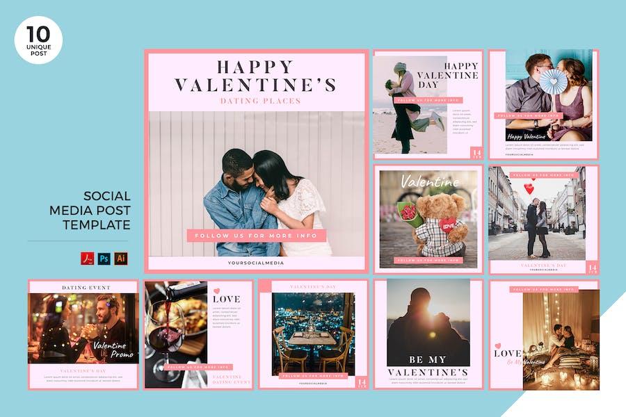 Valentine Date Event Social Media Kit PSD & AI