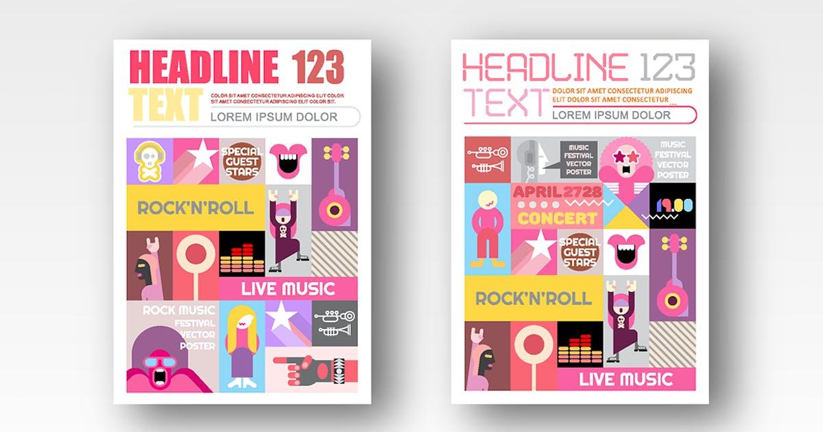 Rock Concert Flyer Template Design, size A4 by danjazzia