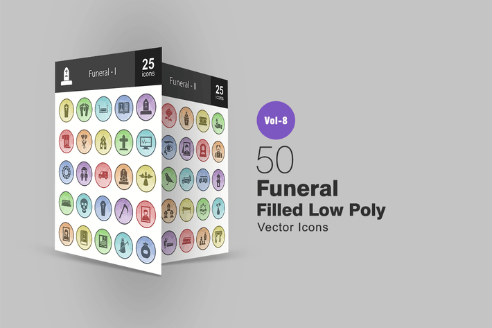 Thumbnail for 50 Funeral Filled Low Poly Icons