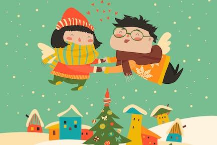 Stilvolle Weihnachtskarte im Vektor