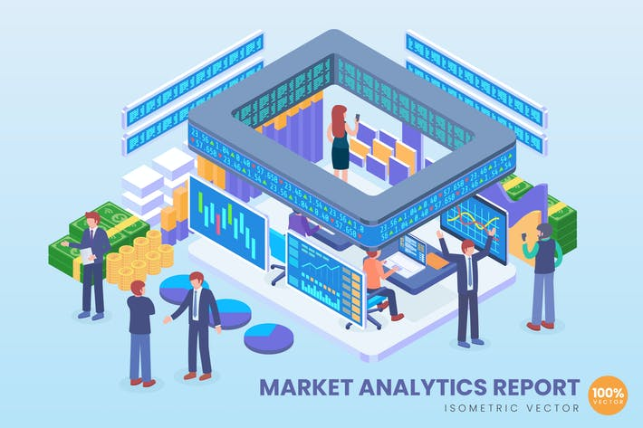 Cover Image For Isometric Market Analytics Report Vector Concept