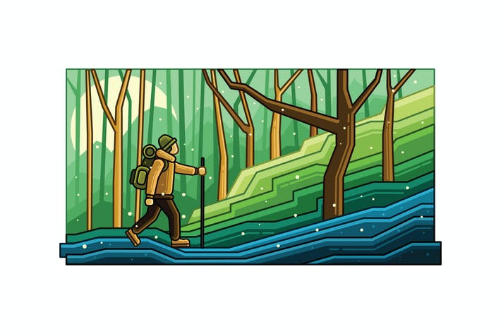 Thumbnail for Mountain Hiking Vector Graphics Line Illustration