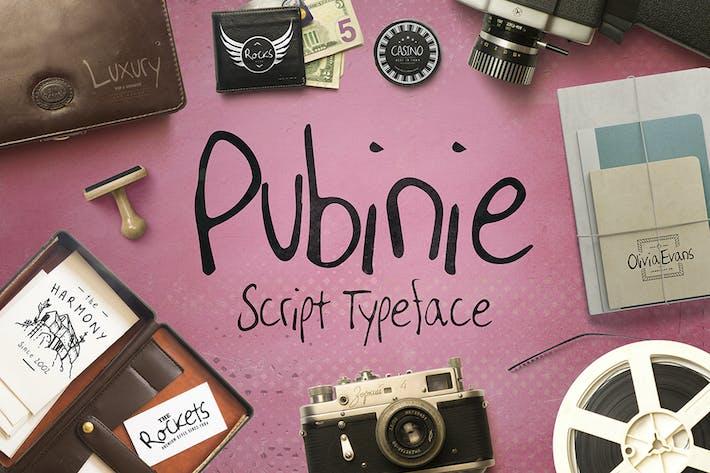 Thumbnail for Pubinie Script Typeface