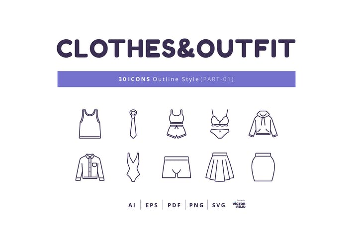 Thumbnail for 30 Icons Clothes&Outfit Part-01 Outline Style