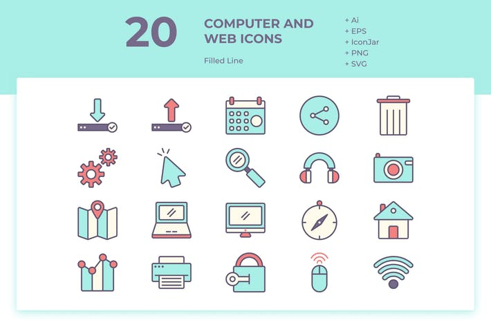 Thumbnail for 20 Computer and Web Icons (Filled Line)