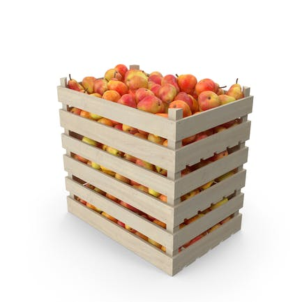 Wooden Crates with Pears Red