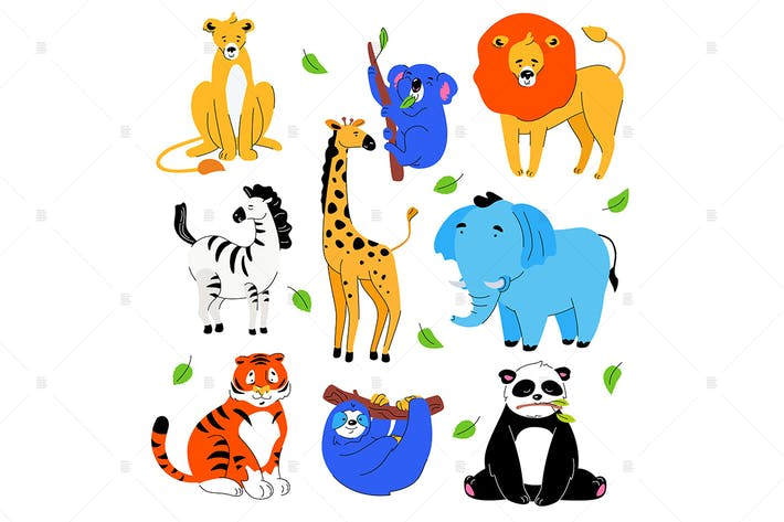 Thumbnail for Cute exotic animals - set of cartoon characters
