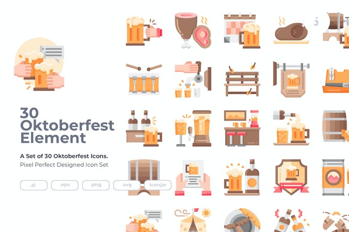Thumbnail for 30 Oktoberfest Icons - Flat