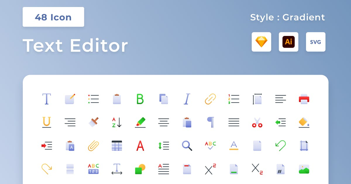 Download Text Editor Gradient Icon Set by usedesignspace