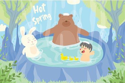 Heiße Quelle - Vektor illustration