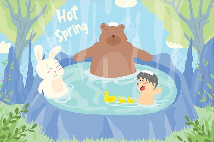 Hot Spring - Vector Illustration