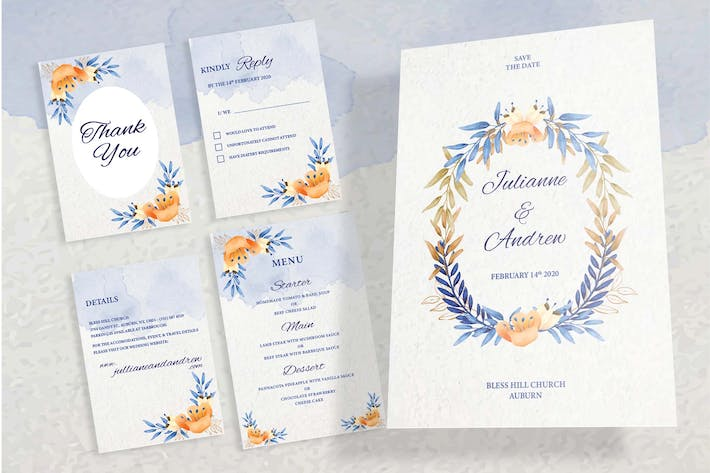 Cover Image For Floral Wedding Invitation Set
