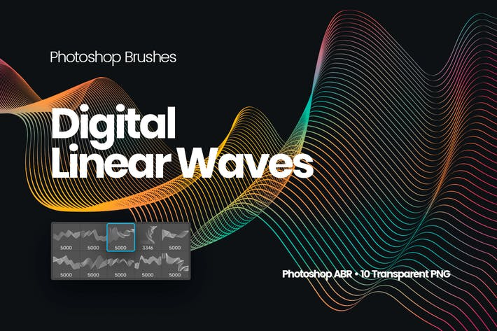 Thumbnail for Digital Linear Waves Photoshop Brushes