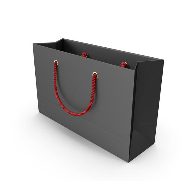 Черная сумка для покупок с красными ручками